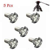 FOCUS 5 Pcs 1/4 Inch Long Quick Release Plate Stainless Steel D-Ring Screw For Tripod