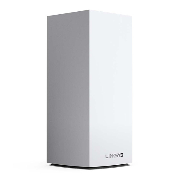 Three quarter view of the Linksys MX5 Velop AX Whole Home WiFi 6 System
