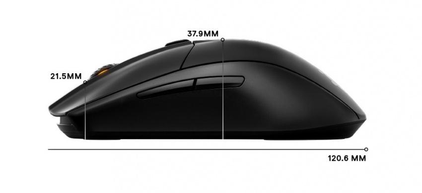 Rival 3 無線側面尺寸:長度 120.6mm, 正面高度 21.5mm, 中間高度 37.9mm