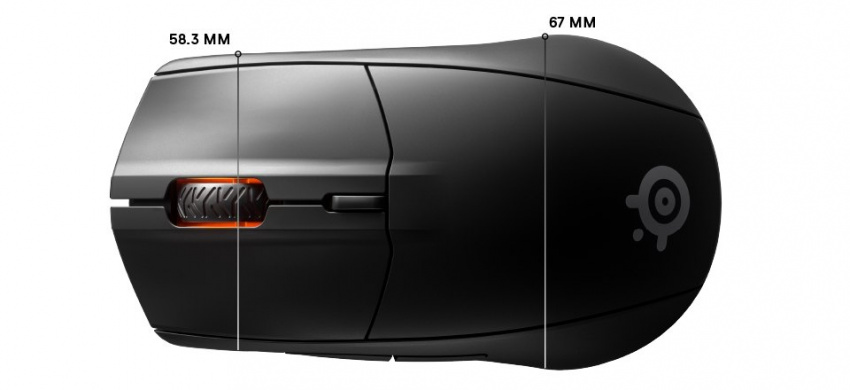Rival 3 無線頂面尺寸:正面寬度 58.3mm,背後寬度 67mm