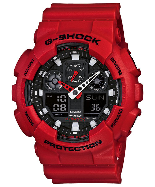 Casio G-Shock GA-100B-4A 雙顯配置手錶