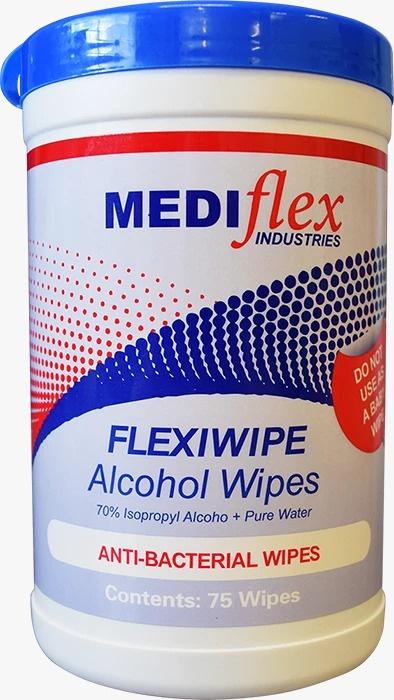 Mediflex FlexiWipe 醫學用消毒抗菌酒精濕紙巾[樽裝][75張]
