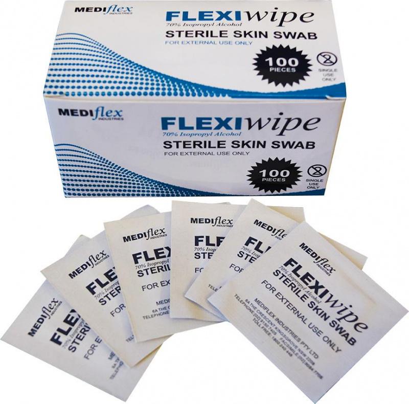 Mediflex FlexiWipe 醫學用消毒抗菌酒精濕紙巾[盒裝][100張]