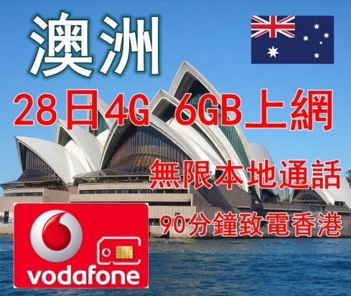 Vodafone 澳洲 28日 6GB 4G上網卡配無限通話
