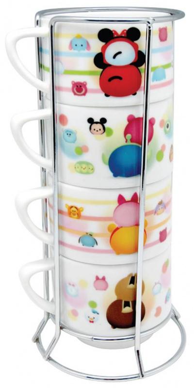 Disney迪士尼-tsumtsum卡通陶瓷杯4件連架套裝 [2款]
