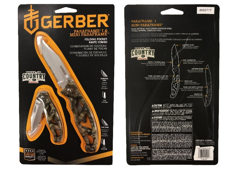 美國 Gerber 多用途刀具 - Paraframe I & Mini Paraframe Combo (Mossy Oak) 大小工具刀套裝