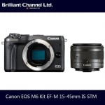 Canon EOS M6 Kit EF-M 15-45mm IS STM 相機連鏡頭套裝 [黑色]