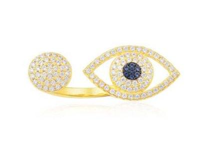 APM Monaco 金黃色純銀鑲晶鑽幸運眼開口戒指 (A16766OXY-S)