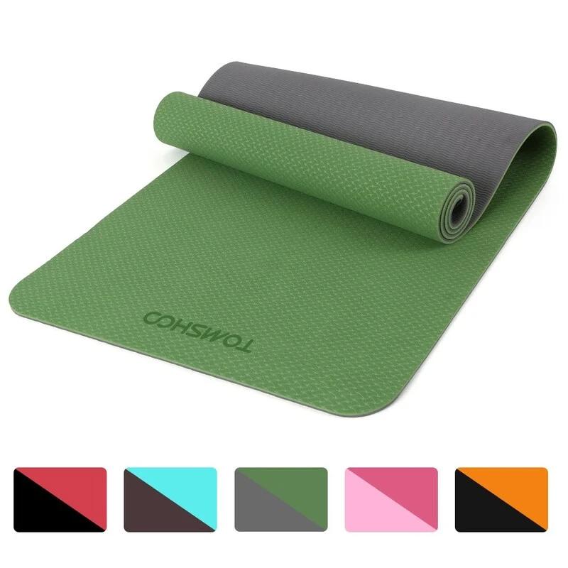TOMSHOO 便攜式雙層雙色加厚瑜珈墊 [72.05×24.01吋]