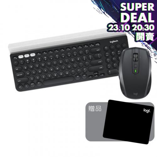 Logitech MX ANYWHERE 2S 無線滑鼠+ K780多裝置無線鍵盤+文書滑鼠墊