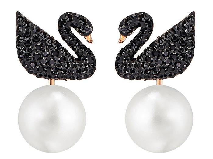 Swarovski Iconic Swan 黑色鍍玫瑰金色穿孔耳環花托 (5193949)