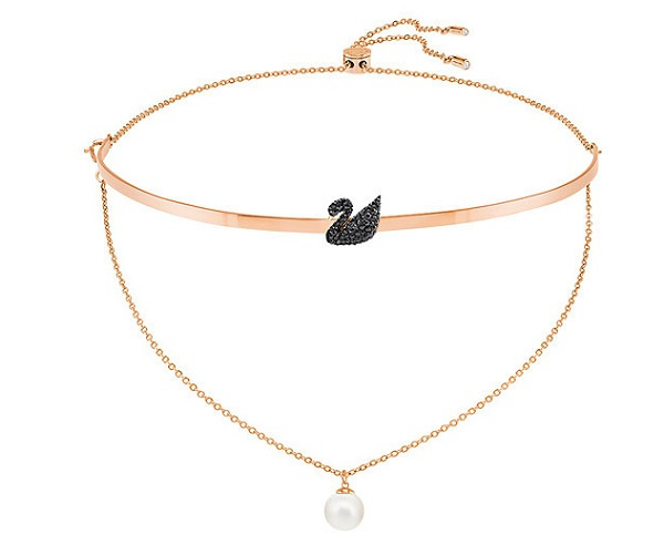 Swarovski Iconic Swan 鍍玫瑰金色頸鏈 (5351807)