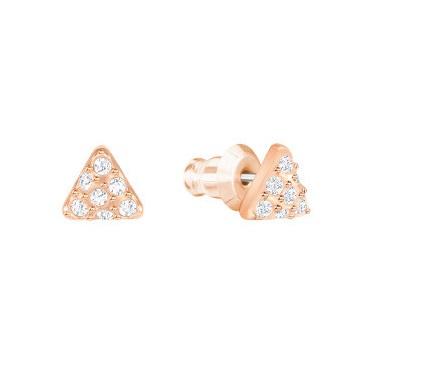 Swarovski Facet Swan 鍍玫瑰金色穿孔耳環 (5358058)