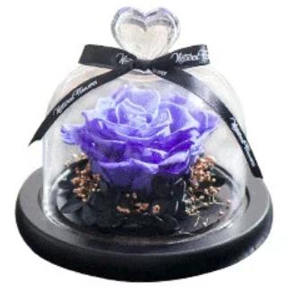 情人節永恆玫瑰花 - 仿真花玻璃禮盒[多色]