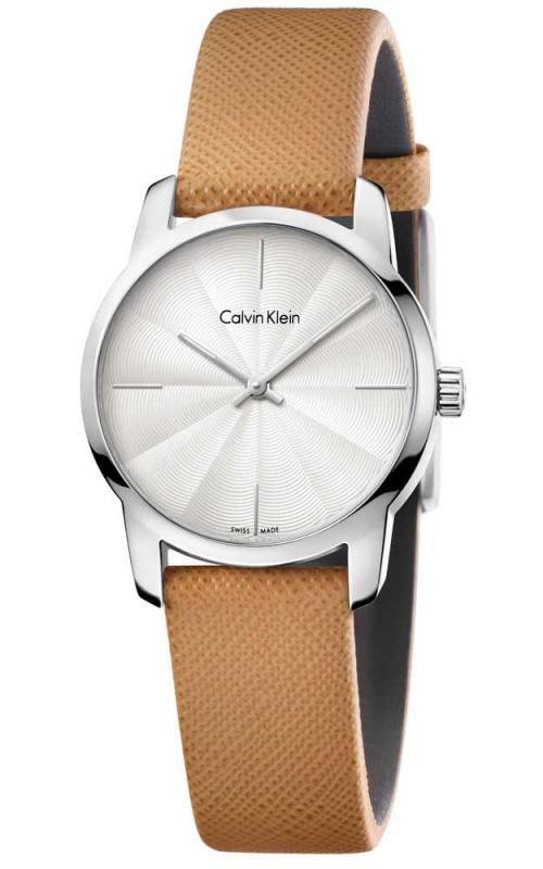 Calvin Klein City 系列真皮女裝石英手錶K2G231G6 K2G231XH