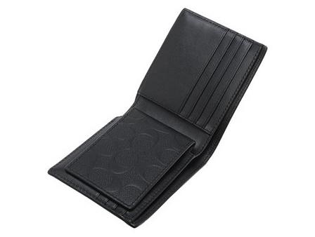Coach F75371 皮革壓紋兩折式小牛皮銀包