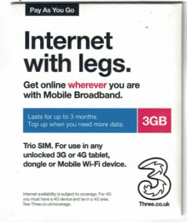 3UK歐洲及多國 90日 4G/3G 3GB 國際流動數據卡