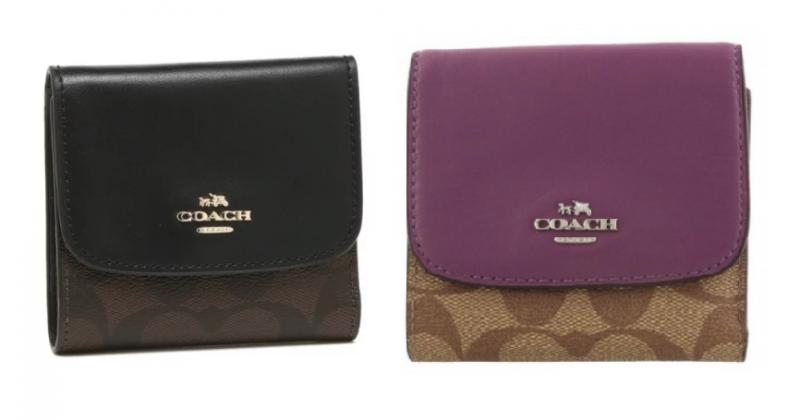 Coach F87589 皮革女裝摺叠鈕扣錢包 [2色]