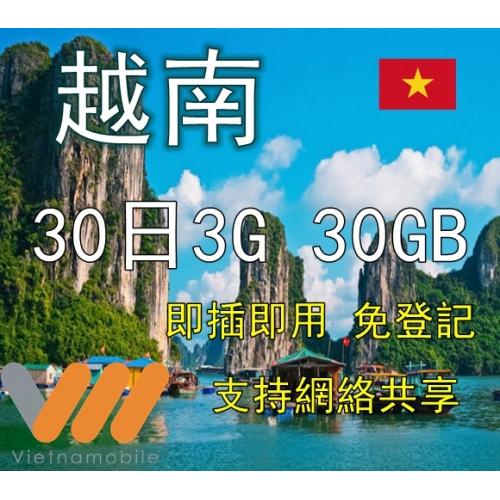 Vietnamobile 越南30日 30GB 3G上網卡
