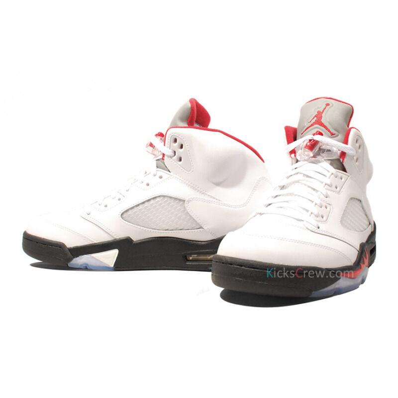Air Jordan 5 Retro White Fire Red Black 籃球鞋/運動鞋 (136027-100) 海外預訂