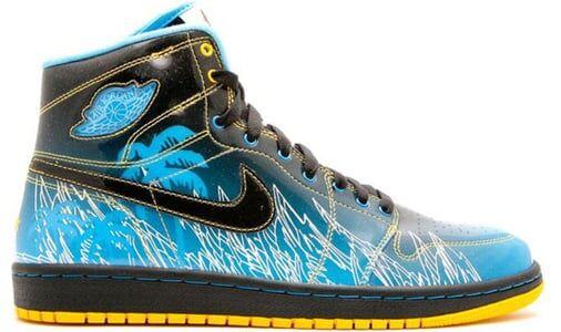 Air Jordan 1 Retro High 'Doernbecher' 2008 Black/Vivid Blue-White-Varsity Maize 籃球鞋/運動鞋 (345204-041) 海外預訂