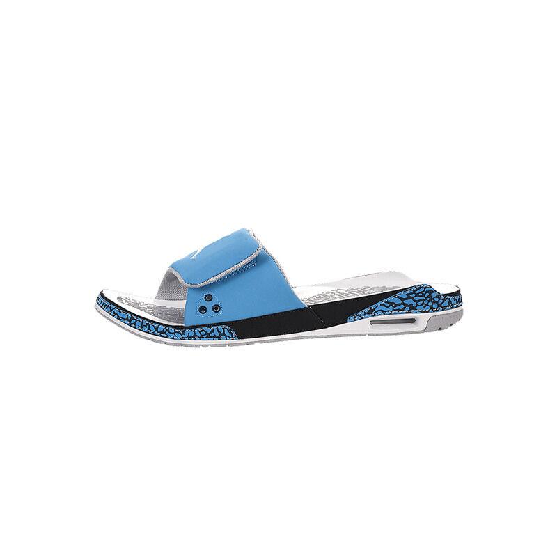 Air Jordan 3 dark powder blue/white-wolf grey-black Beach & Pool Slides/Slippers (428789-407) 海外預訂