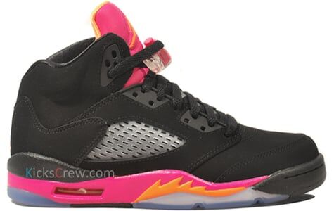 Girls Air Jordan 5 Retro GS Black Bright Citrus Pink 籃球鞋/運動鞋 (440892-067) 海外預訂