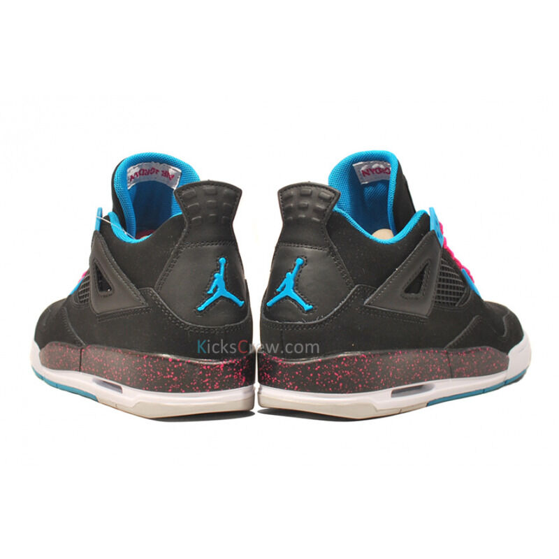 Girls Air Jordan 4 Retro Black Dynamic Blue Pink 籃球鞋/運動鞋 (487724-019) 海外預訂