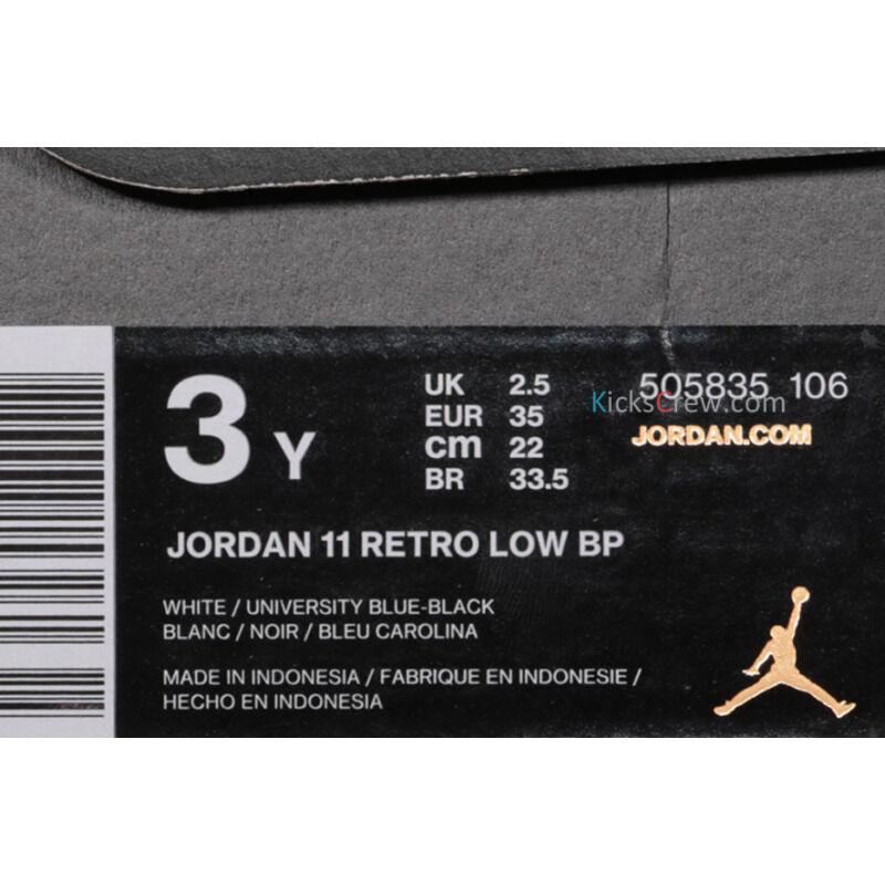 Jordan 11 Retro Low BP UNC - University Blue 籃球鞋/運動鞋 (505835-106) 海外預訂