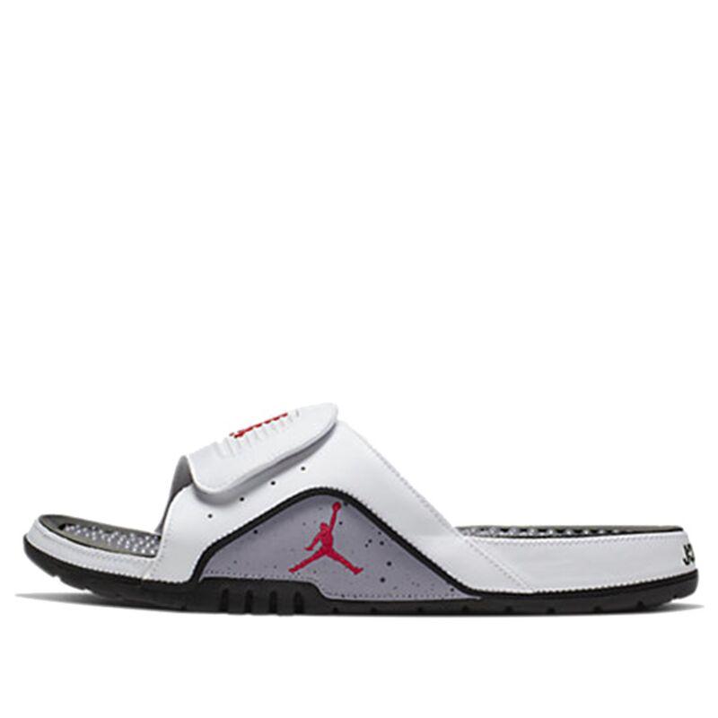 Jordan Hydro 4 Retro 'White Cement' White/Fire Red-Cement Grey-Black Beach & Pool Slides/Slippers (532225-116) 海外預訂