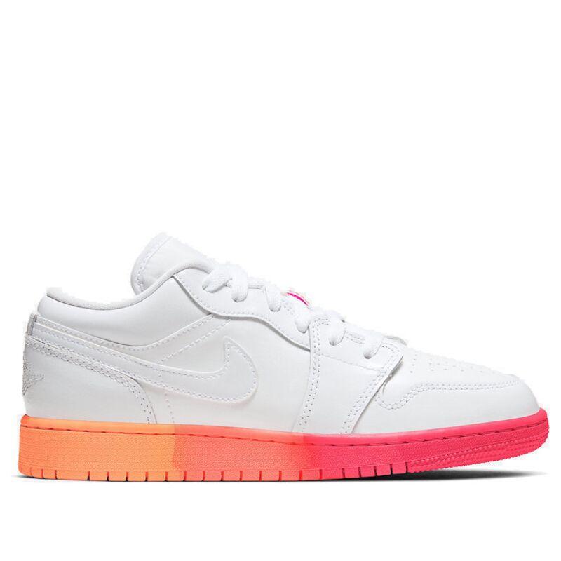 Air Jordan 1 Low'Sunset Sole' GS White/White/Laser Crimson 籃球鞋/運動鞋 (554723-100) 海外預訂