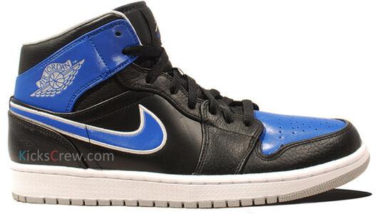 Air Jordan 1 Mid Black Game Royal 籃球鞋/運動鞋 (554724-007) 海外預訂