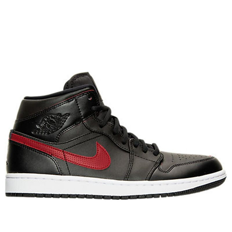 Air Jordan 1 Mid Black Team Red 籃球鞋/運動鞋 (554724-009) 海外預訂