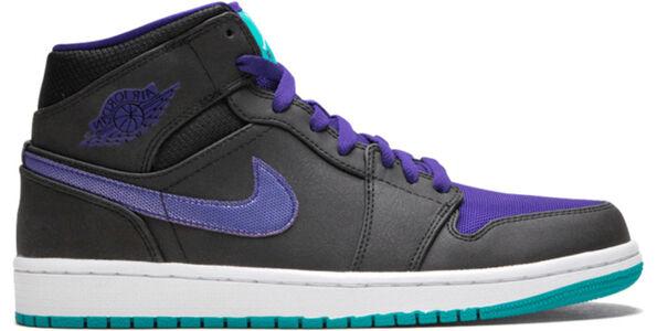 Air Jordan 1 Mid 'Grape' Black/Grape Ice-Emerald 籃球鞋/運動鞋 (554724-015) 海外預訂