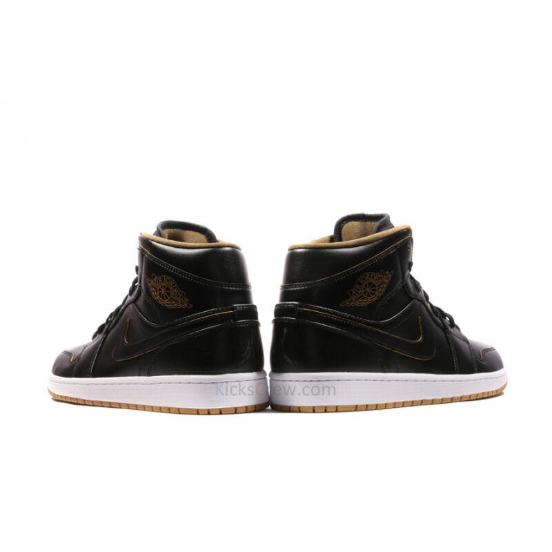 Air Jordan 1 Mid Black Metallic Gold 籃球鞋/運動鞋 (554724-042) 海外預訂