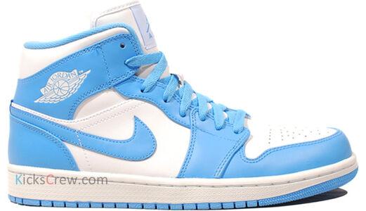 Air Jordan 1 Mid White University Blue 籃球鞋/運動鞋 (554724-106) 海外預訂