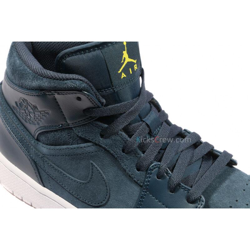 Air Jordan 1 Mid 'Armory Navy' Armory Navy/White-Electrolime 籃球鞋/運動鞋 (554724-421) 海外預訂