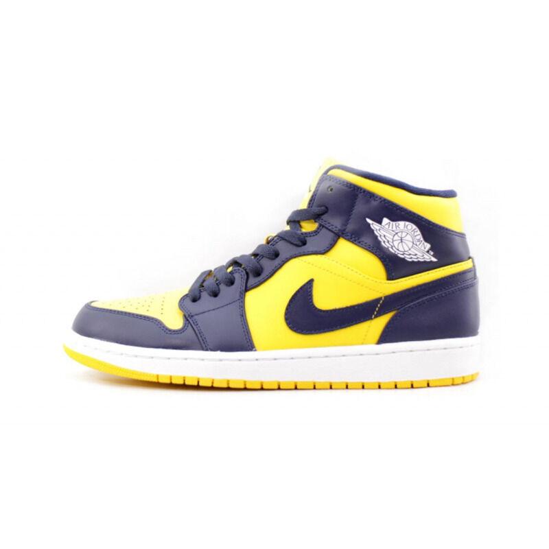 Air Jordan 1 Mid Varsity Maize Navy 籃球鞋/運動鞋 (554724-707) 海外預訂