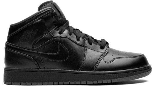 Air Jordan 1 Retro Mid GS 'Black Dark Grey' Black/Black-Dark Grey 籃球鞋/運動鞋 (554725-021) 海外預訂