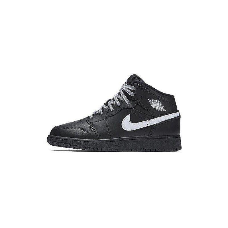 Air Jordan 1 Retro Mid'Speckle' GS Black/Black-White 籃球鞋/運動鞋 (554725-049) 海外預訂