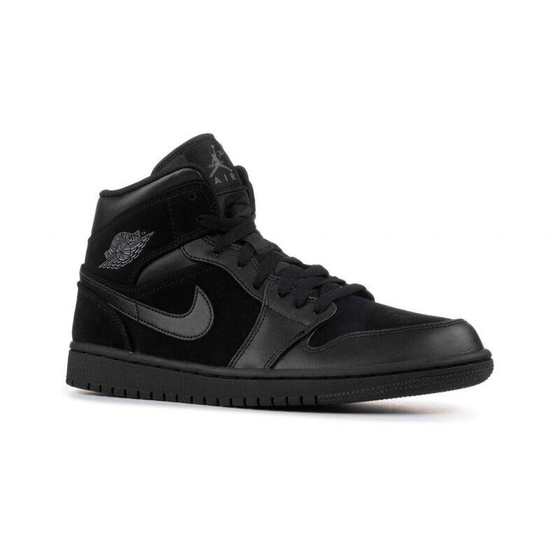 Air Jordan 1 Retro Mid'Black Dark Grey' GS Black/Dark Grey-Black 籃球鞋/運動鞋 (554725-050) 海外預訂