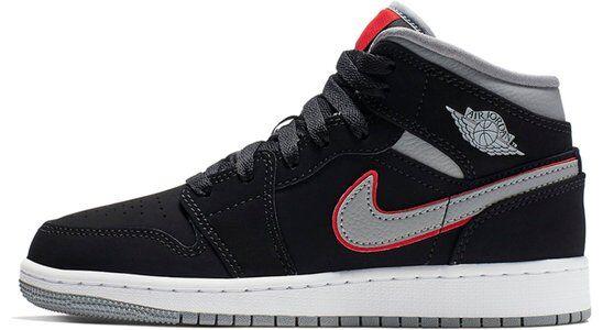 Air Jordan 1 Mid GS Black Particle Grey 籃球鞋/運動鞋 (554725-060) 海外預訂