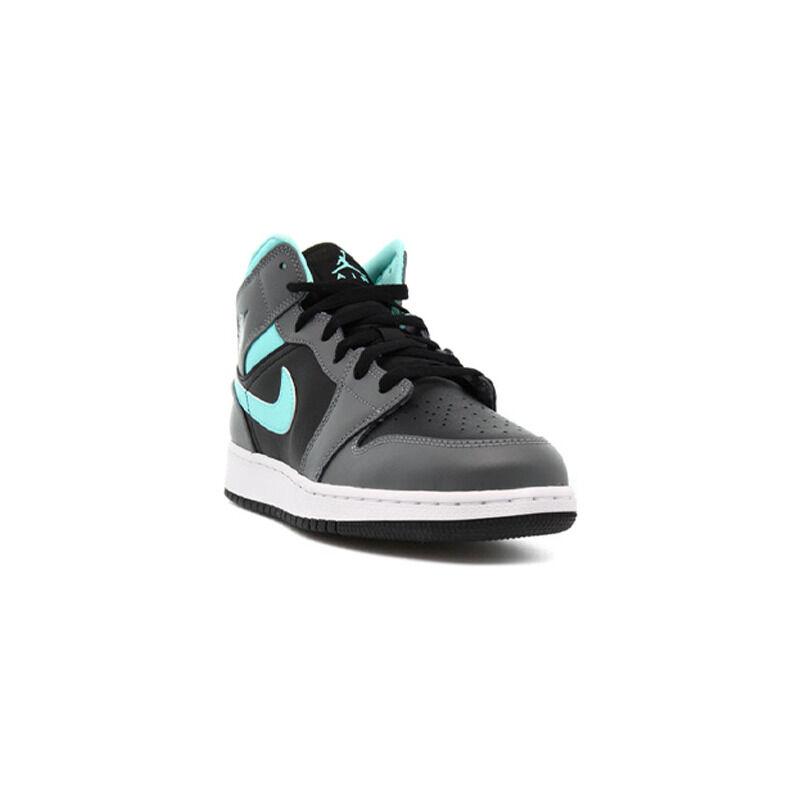Air Jordan 1 Mid GS 'Grey Aqua' Black/Light Aqua/Dark Smoke Grey 籃球鞋/運動鞋 (554725-063) 海外預訂