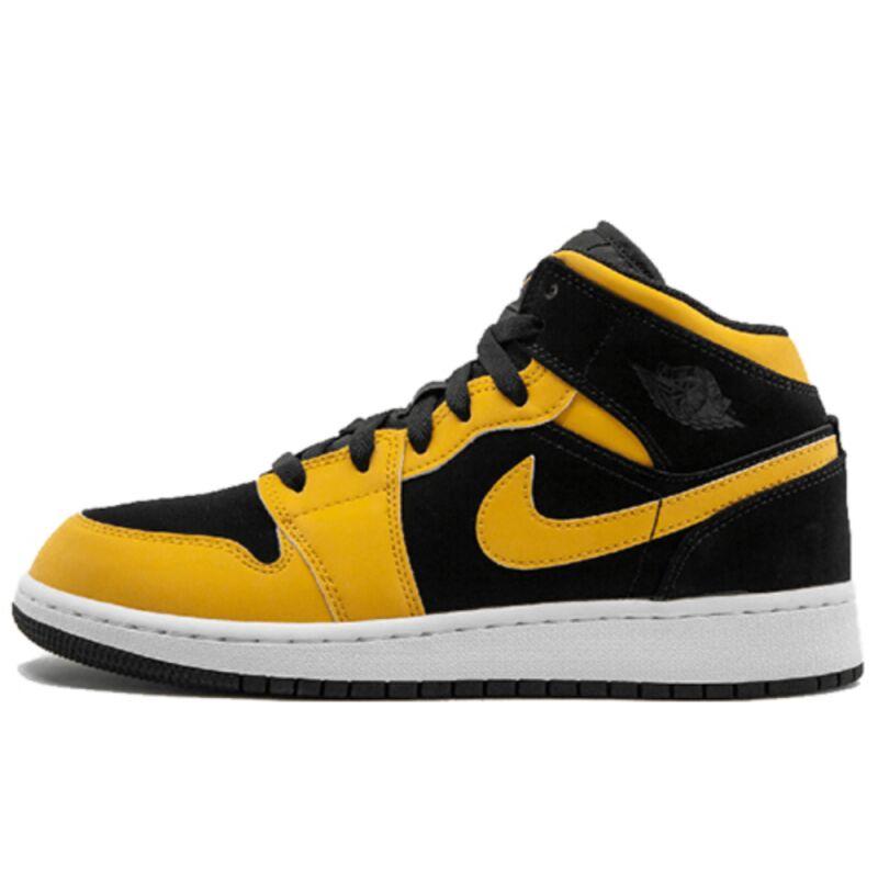 Air Jordan 1 Mid GS Black University Gold 籃球鞋/運動鞋 (554725-071) 海外預訂
