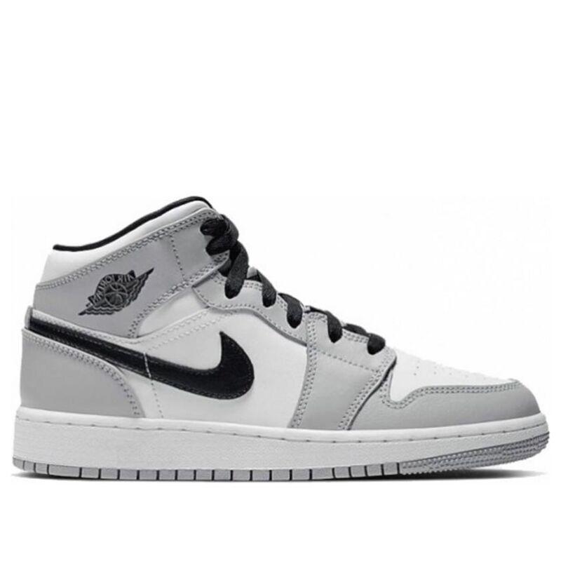 Air Jordan 1 Mid'Light Smoke Grey' GS Light Smoke Grey/Black/White 籃球鞋/運動鞋 (554725-092) 海外預訂