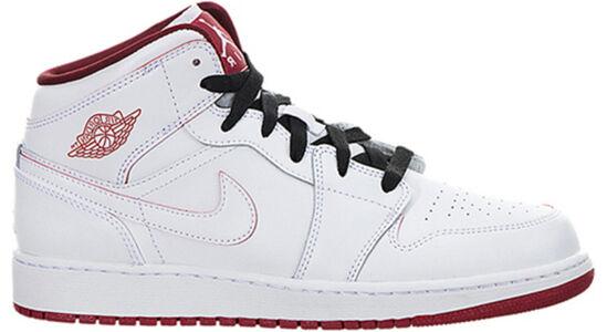 Air Jordan 1 Retro Mid'White Gym Red' GS White/Gym Red-Black 籃球鞋/運動鞋 (554725-103) 海外預訂