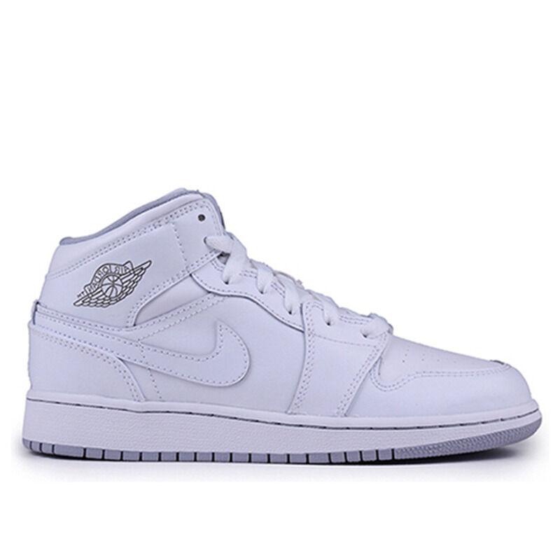 Air Jordan 1 Retro Mid'White Wolf Grey' GS White/White-Wolf Grey 籃球鞋/運動鞋 (554725-112) 海外預訂
