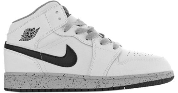 Air Jordan 1 Retro Mid'White Cement' GS White/Cement Grey-Black 籃球鞋/運動鞋 (554725-115) 海外預訂