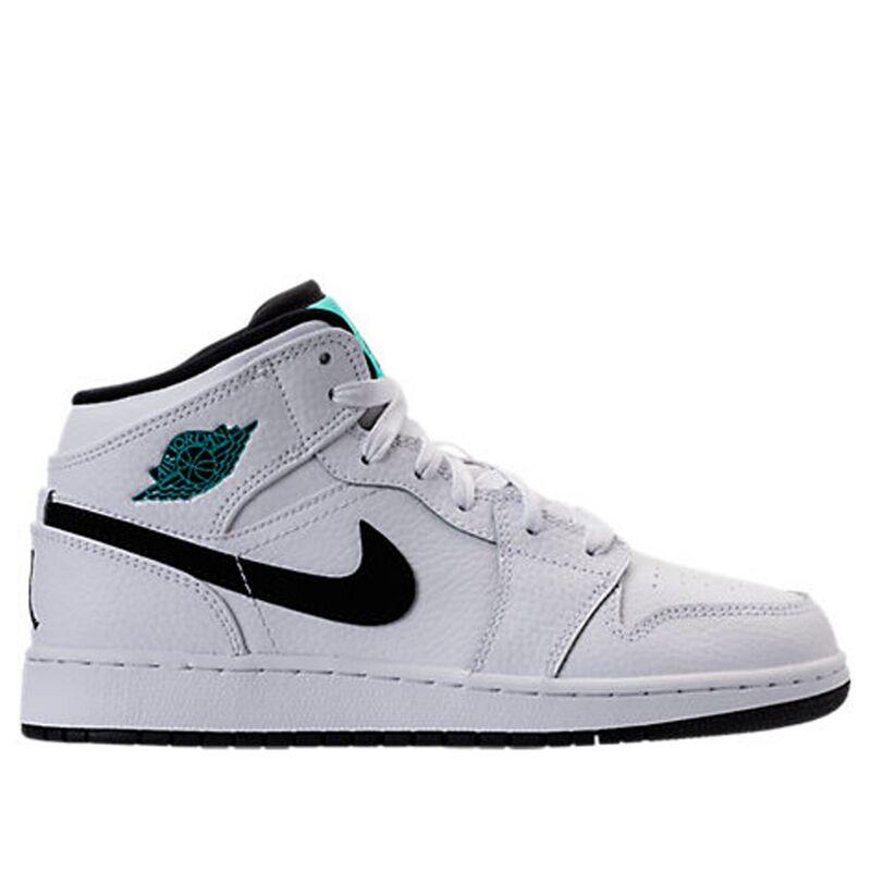 Air Jordan 1 Retro Mid'Hyper Jade' GS White/Black-White-Hyper Jade 籃球鞋/運動鞋 (554725-122) 海外預訂