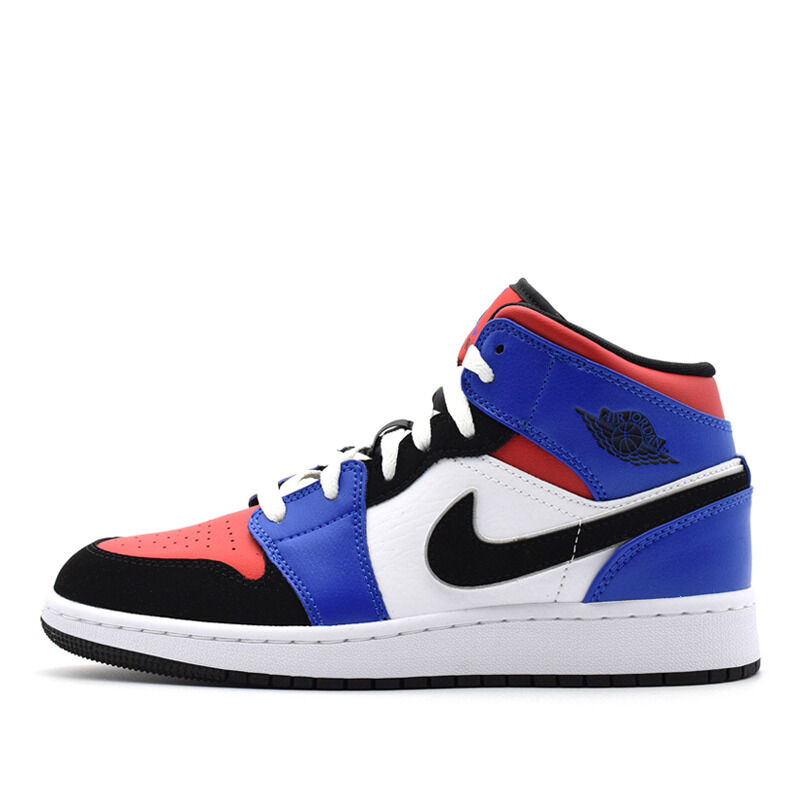 Air Jordan 1 Mid GS White Royal Blue Red 籃球鞋/運動鞋 (554725-124) 海外預訂